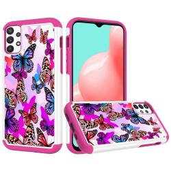 Beautiful Design Leather Feel Tuff Hybrid Case for Samsung Galaxy A32 5G - Colorful Butterflies