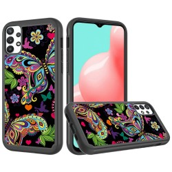 Beautiful Design Leather Feel Tuff Hybrid Case for Samsung Galaxy A32 5G - Enchanted Butterfly