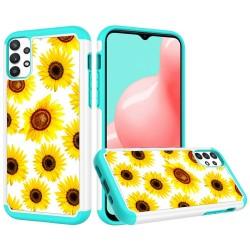 Beautiful Design Leather Feel Tuff Hybrid Case for Samsung Galaxy A32 5G - Sun Flower