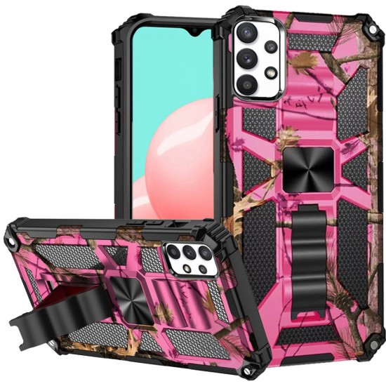 Machine Design Magnetic Kickstand Case for Samsung Galaxy A32 5G - Camo Pink