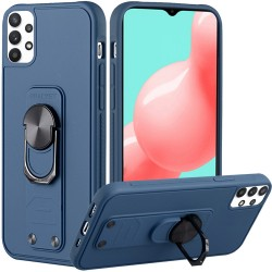 Solid Lever Magnetic Ring Stand Tuff Hybrid Case for Samsung Galaxy A32 5G - Dark Blue