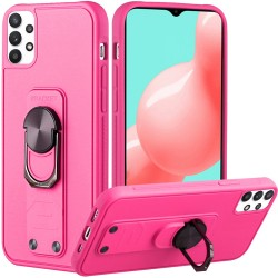 Solid Lever Magnetic Ring Stand Tuff Hybrid Case for Samsung Galaxy A32 5G - Hot Pink