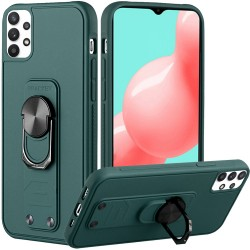 Solid Lever Magnetic Ring Stand Tuff Hybrid Case for Samsung Galaxy A32 5G - Midnight Green