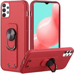 Solid Lever Magnetic Ring Stand Tuff Hybrid Case for Samsung Galaxy A32 5G - Red