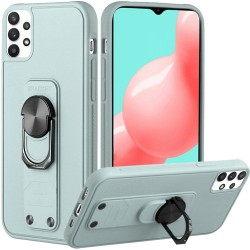 Solid Lever Magnetic Ring Stand Tuff Hybrid Case for Samsung Galaxy A32 5G - Teal