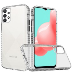 Thick Diamond Design Edged Colorful Buttons Hybrid Case for Samsung Galaxy A32 5G - Clear/Black