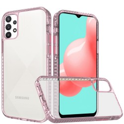 Thick Diamond Design Edged Colorful Buttons Hybrid Case for Samsung Galaxy A32 5G - Rose Gold/Pink