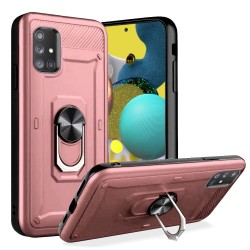 Champion Magnetic Metal Ring Stand 360 degree Rotation Cover for Samsung A51 5G - Rose Gold