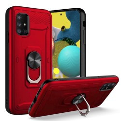 Champion Magnetic Metal Ring Stand 360 degree Rotation Cover for Samsung A51 5G - Red