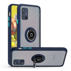 Premium Painted Leather Oil PC TPU w/ Magnetic Metal Ring for Samsung A51 5G - Blue