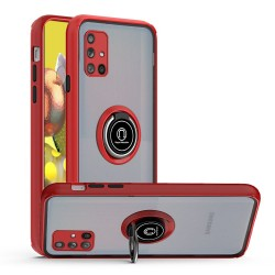 Premium Painted Leather Oil PC TPU w/ Magnetic Metal Ring for Samsung A51 5G - Red