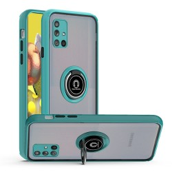 Premium Painted Leather Oil PC TPU w/ Magnetic Metal Ring for Samsung A51 5G - Teal