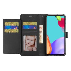 Wallet ID Card Holder Case for Samsung Galaxy A52 5G - Black