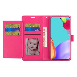 Wallet ID Card Holder Case for Samsung Galaxy A52 5G - Hot Pink