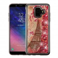 Eiffel Tower & Pink Hearts Quicksand Glitter Hybrid Protector Cover
