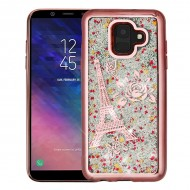 Rose Gold Electroplating/Eiffel Tower/Silver Confetti Quicksand Glitter Hybrid Protector Cover