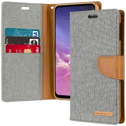 CANVAS DIARY FOR GALAXY NOTE 10 PLUS (GRAY/CAMEL)