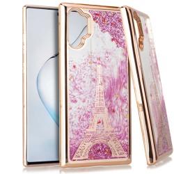 CHROME Glitter Motion Paris Tower ROSE G For Samsung Note 10 Plus