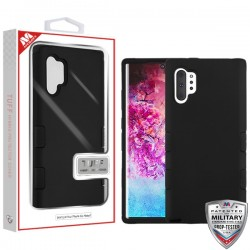 Rubberized Black/Black TUFF Hybrid Protector Cover [Military-Grade Certified](with Package) For Samsung Note 10 Plus