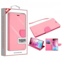 Pink Pattern/Hot Pink Liner MyJacket Wallet Crossgrain Series(846) -WP For Samsung Note 10 Plus