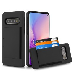 MYBAT Black/Black Poket Hybrid Protector Cover (with Back Film)(with Package) for Samsung Galaxy S10
