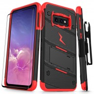 ziZo Bolt with Kickstand, Holster, Temperd Glass, Lanyard for Samsung Galaxy S10 PLUS