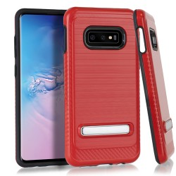 Brushed Metallic EDGE with Magnetic Kickstand for Samsung Galaxy S10e_RED