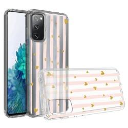For Samsung Galaxy S20 FE 5G Design Transparent Bumper Hybrid Case Cover - Gold Love Stripes