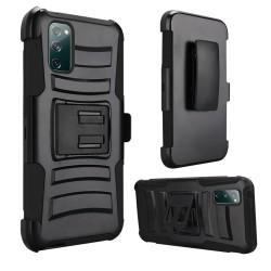 For Samsung Galaxy S20 FE 5G Premium Holster Clip Kickstand Case Cover - Black/Black