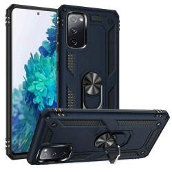 For Samsung Galaxy S20 FE 5G Magnetic Ring Slim Shockproof PC TPU Hybrid - Blue