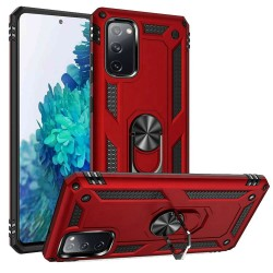 For Samsung Galaxy S20 FE 5G Magnetic Ring Slim Shockproof PC TPU Hybrid - Red