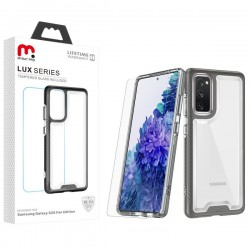 MyBat Pro Lux Series Hybrid Case (Tempered Glass Screen Protector) for Samsung Galaxy S20 Fan Edition - Black / Transparent Clear
