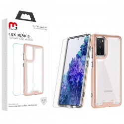 MyBat Pro Lux Series Hybrid Case (Tempered Glass Screen Protector) for Samsung Galaxy S20 Fan Edition - Rose Gold / Transparent Clear