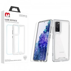 MyBat Pro Lux Series Hybrid Case (Tempered Glass Screen Protector) for Samsung Galaxy S20 Fan Edition - Transparent Clear / Transparent Clear