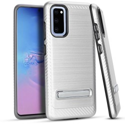 Metal Stand Brushed Case Silver Samsung S20 6.2