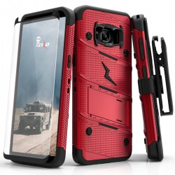 ziZo Bolt with Kickstand, Holster, Temperd Glass, Lanyard for Samsung Galaxy S8