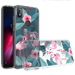 For Revvl 4 Design Transparent Hybrid Case - Flamingo