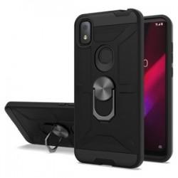 T-Mobile Revvl 4 New Matte Design Brush Case with Ring Stand - Black