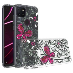 For Revvl 5G Design Transparent Hybrid Case - Butterfly