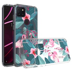 For Revvl 5G Design Transparent Hybrid Case - Flamingo