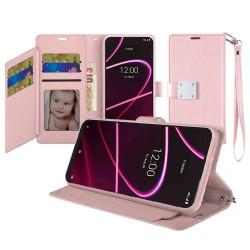 For Revvl 5G Wallet ID Card Holder Case Cover - Rose Gold