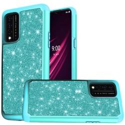 REVVL V Plus 5G Glitter Bling Shinny Hybrid Case Cover - Teal