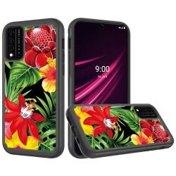 REVVL V Plus 5G Beautiful Design Leather Feel Tough Hybrid Case Cover - Flower Blossom