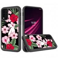 REVVL V Plus 5G Beautiful Design Leather Feel Tough Hybrid Case Cover - Charming Flowers