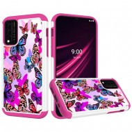 REVVL V Plus 5G Beautiful Design Leather Feel Tough Hybrid Case Cover - Colorful Butterflies