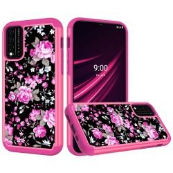 REVVL V Plus 5G Beautiful Design Leather Feel Tough Hybrid Case Cover - Roses