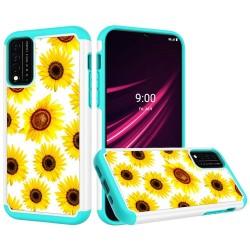 REVVL V Plus 5G Beautiful Design Leather Feel Tough Hybrid Case Cover - Sun Flower