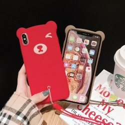 Wink Bear 3D Ultrathin Silicon Case with Hand Strap for iPhone XR