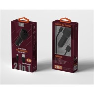 2 IN 1 FAST CAR CHARGER FOR IPHONE 5/6/7/XS BLACK