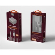 2 IN 1 FAST HOME  CHARGER FOR IPHONE 5/6/7/XS WHITE
